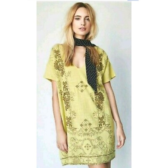 Free People Dresses & Skirts - Free People Beaded Embroidered Twill Shift Dress